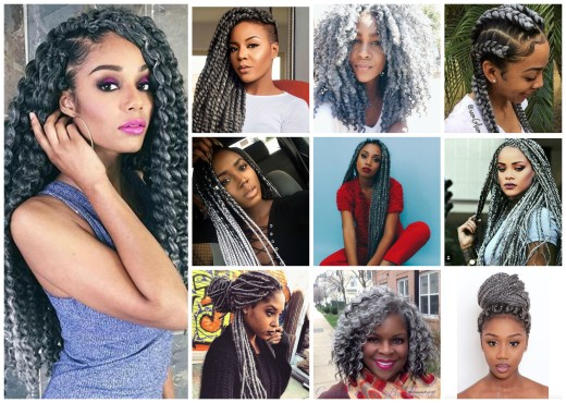 grey braids collage
