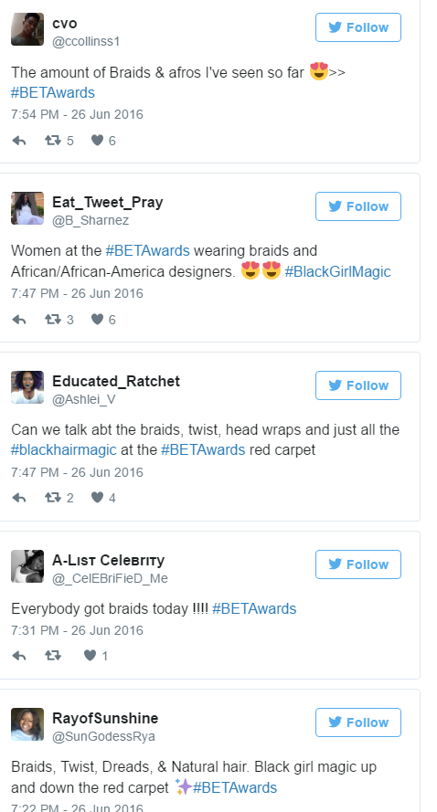 A Lιѕт Celeвrιтy on Twitter   Everybody got braids today       BETAwards