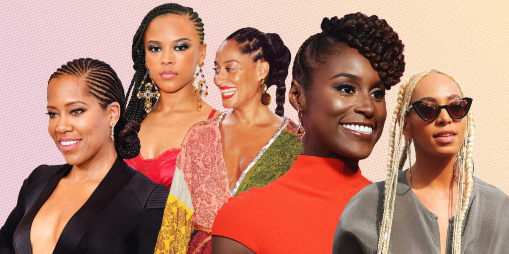 collage of famous women in braids